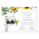 Elephant Sunflowers Baby Shower by Mail Invitation