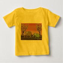Elephant Sunset Baby T-Shirt