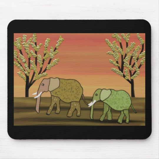 Elephant Sunset Mouse Pad
