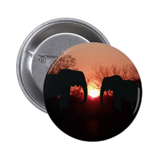 Elephant Sunset Silhouette Button
