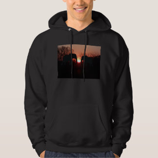 Elephant Sunset Silhouette Hooded Sweatshirt