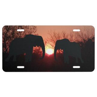 Elephant Sunset Silhouette License Plate
