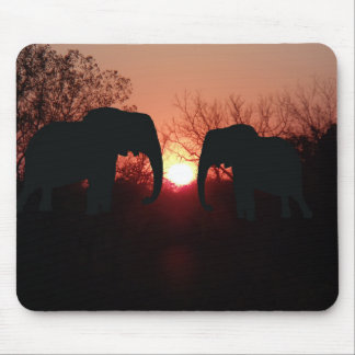 Elephant Sunset Silhouette Mouse Pad