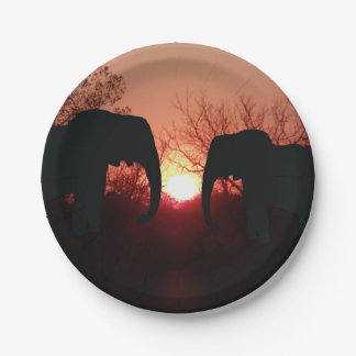 Elephant Sunset Silhouette Paper Plate