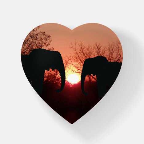 Elephant Sunset Silhouette Paperweight