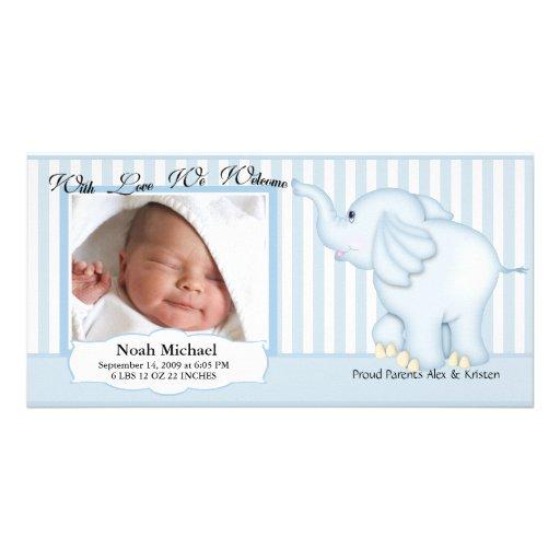 Elephant Sweet Baby Boy Birth Card