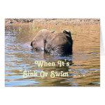 ELEPHANT SWIMMING ACROSS RIVER /HUMOR CARD