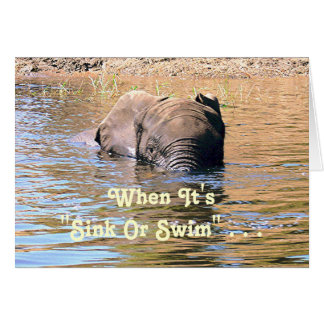 ELEPHANT SWIMMING ACROSS RIVER /HUMOR CARD