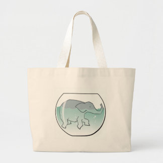 Elephant Swimming around in Goldfish Bowl Large Tote Bag