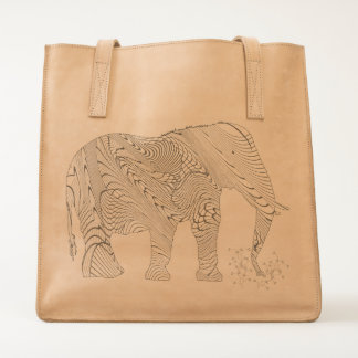 Elephant Tangled Drawing Illustration Tote
