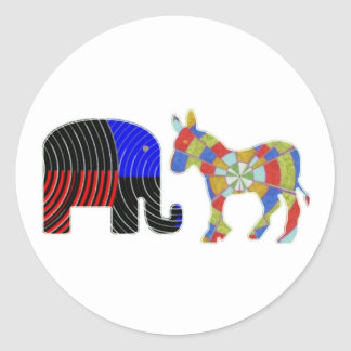 Elephant Task - Politics of Donkeys 2012 Classic Round Sticker