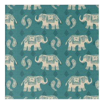 Art Themed Elephant Teal Caravan Pattern Acrylic Wall Art