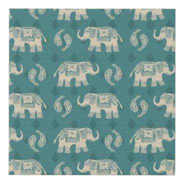 Art Themed Elephant Teal Caravan Pattern Faux Canvas Print