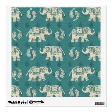Art Themed Elephant Teal Caravan Pattern Wall Decal