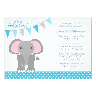 Elephant Teal Polka Dot Banner Boy Baby Shower Invite