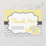 "Elephant Thank You Card, EDITABLE COLOR<br><div class=""desc"">Say thank you to your shower guests with this cute elephant themed thank you card! The accent color is editable using the eye dropper tool.