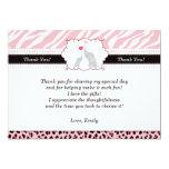 Elephant Thank You Card Pink Black Zebra