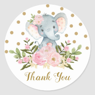 Elephant Thank You Favor Sticker Pink Floral Tag