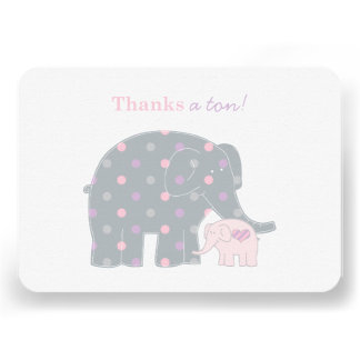 Elephant Thank You Flat Note Cards Pink Purple
