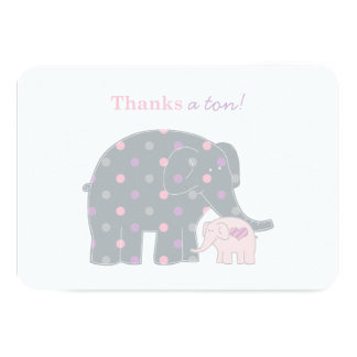 "Elephant Thank You Flat Note Cards | Pink Purple 3.5"" X 5"" Invitation Card"
