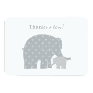 "Elephant Thank You Flat Notes | Silver and Gray 3.5"" X 5"" Invitation Card"