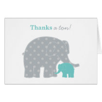 Elephant Thank You Note Card | Aqua Blue Gray