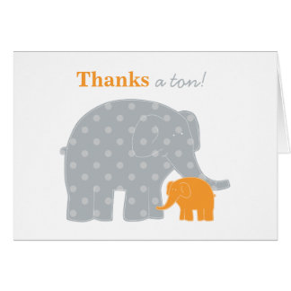 Elephant Thank You Note Card | Orange and Gray