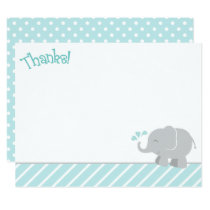 Elephant Thank You Note Cards | Aqua and Gray