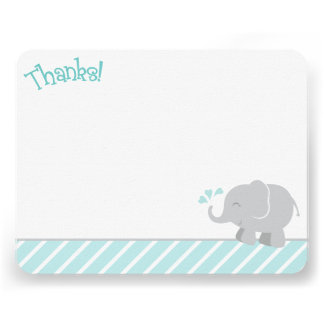 Elephant Thank You Note Cards Aqua and Gray