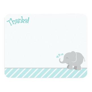 "Elephant Thank You Note Cards | Aqua and Gray 4.25"" X 5.5"" Invitation Card"