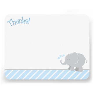 Elephant Thank You Note Cards Blue and Gray
