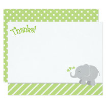 Elephant Thank You Note Cards | Green and Gray
