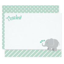 Elephant Thank You Note Cards | Mint and Gray