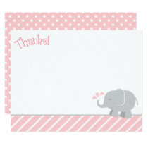 Elephant Thank You Note Cards | Pink and Gray