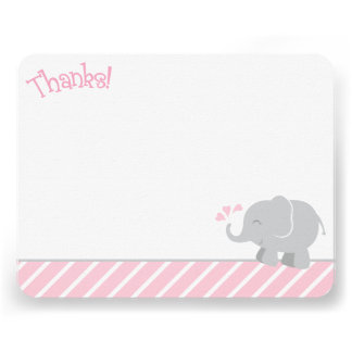 Elephant Thank You Note Cards Pink and Gray