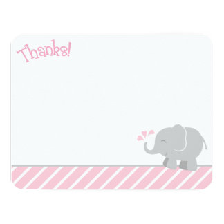 Elephant Thank You Note Cards | Pink and Gray Personalized Invitation
