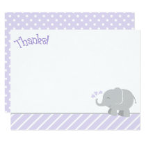 Elephant Thank You Note Cards | Purple and Gray
