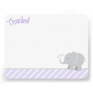 Elephant Thank You Note Cards Purple and Gray