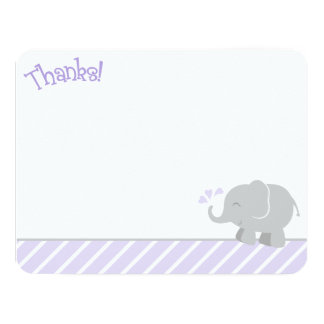Elephant Thank You Note Cards | Purple and Gray Custom Invitation