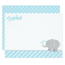 Elephant Thank You Note Cards | Sky Blue and Gray