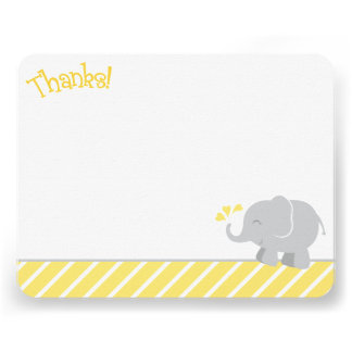 Elephant Thank You Note Cards Yellow and Gray