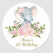 Elephant Thank You Sticker Floral Birthday Favors