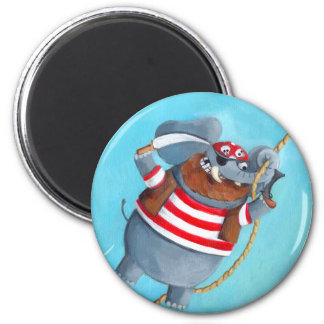 Elephant - The Best Pirate Animal 2 Inch Round Magnet