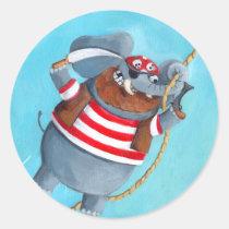 artsprojekt, elephant pirate, elephant, animal pirate, pirate, corsair, animal, amnimal sailor, cute animal, pirates, loot, treasure, looting, cute pirate, children illustration, illustration, children, kid, kids, nursery, pirate gift, pirate present, elephant gift, elephant present, Sticker with custom graphic design