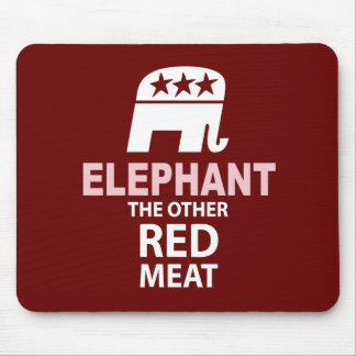 Elephant The Other Red Meat Mouse Pad