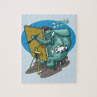 elephant the painter is sleeping funny cartoon jigsaw puzzle
