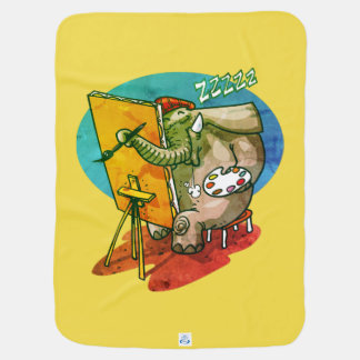 elephant the painter is sleeping funny cartoon stroller blanket