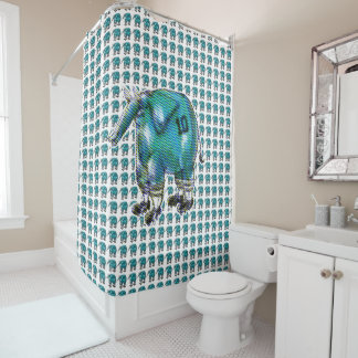 elephant the soccer player shower curtain