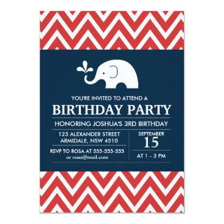 "Elephant theme birthday boy party invitation 5"" x 7"" invitation card"
