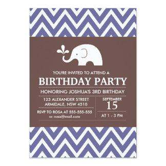 Elephant theme birthday boy party invitation